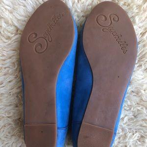 Seychelles Shoes - Seychelles Blue Cutout Peep Toe Flats